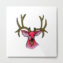 Oh Deer: Pink and Gold Deer Metal Print