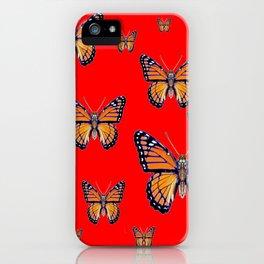 RED ART MONARCH BUTTERFLIES iPhone Case
