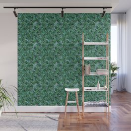 Tropical Palm Tree Leaf Pattern - Purple BG Wall Mural