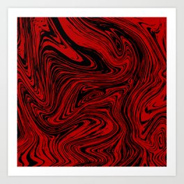 Red and black marble pattern Art Print