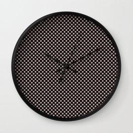Black and Adobe Rose Polka Dots Wall Clock