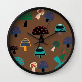 Cute Mushroom Brown Wall Clock
