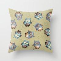 owls Throw Pillows featuring Owls by Catru