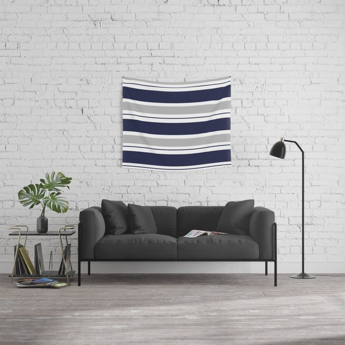 Navy Blue and Grey Stripe Wall Tapestry