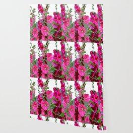 PINK- PURPLE COTTAGE  HOLLYHOCKS WHITE & GREY GARDEN Wallpaper