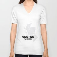 whiskey V-neck T-shirts featuring Scotch Whiskey by Stephen John Bryde