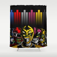 power rangers Shower Curtains featuring Mighty Morphin Zombie Rangers by of the dead designs