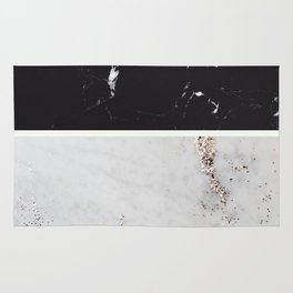 Black Marble & White Glitter Marble #1 #decor #art #society6 Rug