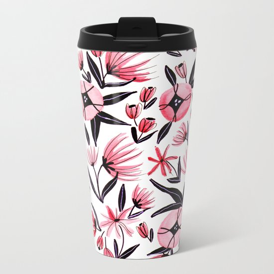 Black and Peach Flowers - Watercolor Pattern Metal Travel Mug