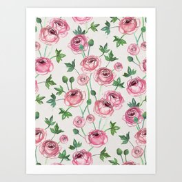 Painted Pink Ranunculus Pattern Art Print