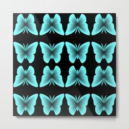 Blue Butterfly Print / Pattern Metal Print