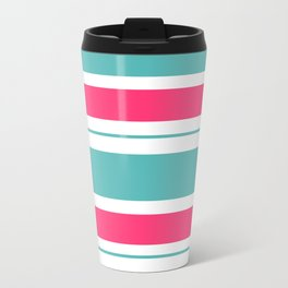 Turquoise And Fuschia Hot Pink Stripes Travel Mug
