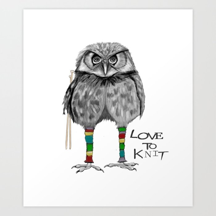 loves to knit Art Print
