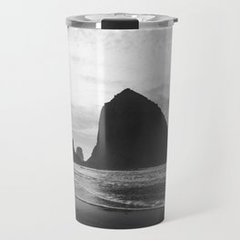 Haystack Rock in Black and White - Cannon Beach, Oregon Film Photo Travel Mug