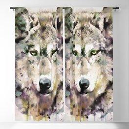 Wolf Head Watercolor Portrait Blackout Curtain