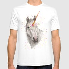Unicorn V MEDIUM White Mens Fitted Tee