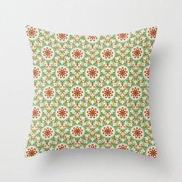 Bright Orange Green Floral Pattern Throw Pillow