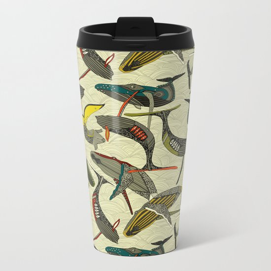 whales and waves bold Metal Travel Mug