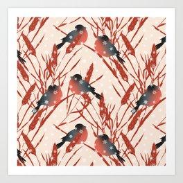 Winter pattern with bullfinches. Art Print