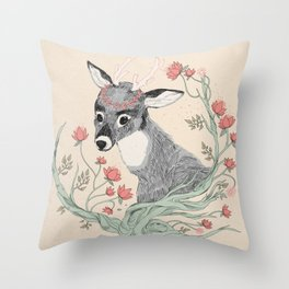 The deer from the forest Throw Pillow
