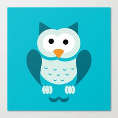 Minimal Owl Blue Canvas Print