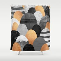copper Shower Curtains featuring Copper Rocks / Color Option by Elisabeth Fredriksson