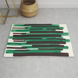 Deep Green Turquoise Primitive Stripes Mid Century Modern Minimalist Watercolor Gouache Painting Col Rug