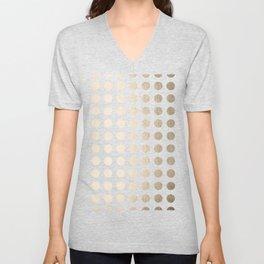 Simply Polka Dots in White Gold Sands Unisex V-Neck