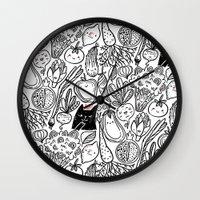 vegetables Wall Clocks featuring Funny Vegetables by Anna Alekseeva kostolom3000