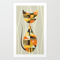mid century Art Prints featuring Mid Century Cat by MidPark Prints