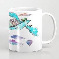 rio de janeiro Mugs featuring Flying Rio de Janeiro by Marina Papi