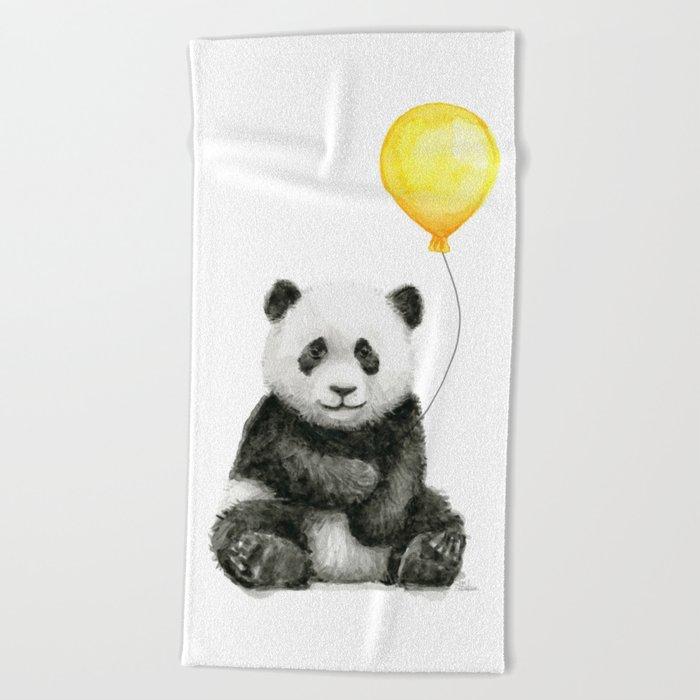 Panda Watercolor Animal with Yellow Balloon Nursery Baby Animals Beach Towel