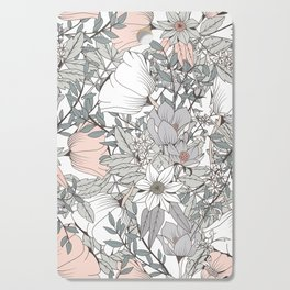 Farmhouse Chic Blush Pink and Grey Floral Pattern Cutting Board