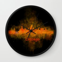 Chicago City Skyline Hq v4 Wall Clock