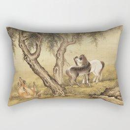 Shen Nan Pin - Album Of Birds And Animals (Horses) Rectangular Pillow