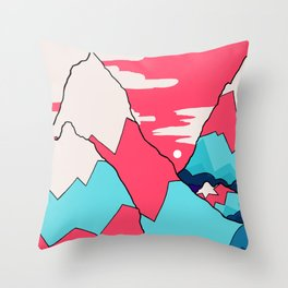 The red and blue peaks Throw Pillow