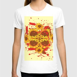 CAUTION: DANGEROUS SUNFLOWERS YELLOW-RED ART T-shirt