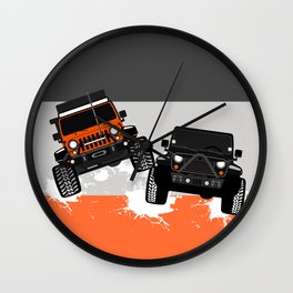 Couple Offroading 'Orange' Wall Clock