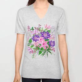 Bouquet with pink and violet clematis flowers Unisex V-Neck