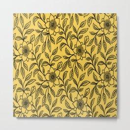 Vintage Lace Floral Primrose Yellow Metal Print