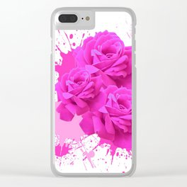 CERISE PINK ROSE PATTERN WATERCOLOR SPLATTER Clear iPhone Case