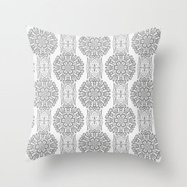 Gray white Damask ornament . Throw Pillow