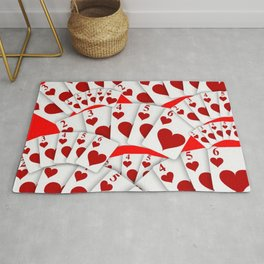 "DECORATIVE RED ""ROYAL FLUSH"" IN RED HEARTS SUIT Rug"