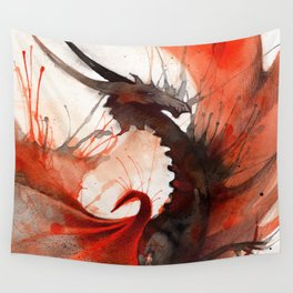 Ink Dragon Red Wall Tapestry