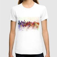 liverpool T-shirts featuring Liverpool skyline in watercolor background by Paulrommer