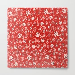 Snowflake Snowstorm With Poppy Red Background Metal Print
