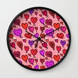 Love Heart Doodles Wall Clock