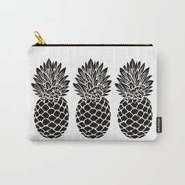 Pineapple Trio | Three Pineapples | Pineapple Silhouettes | Black and White | Carry-All Pouch
