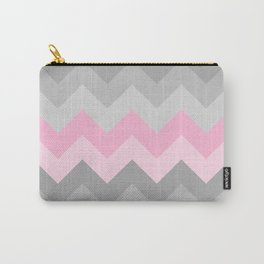 Pink Grey Gray Chevron Girl  Carry-All Pouch