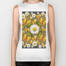 GREEN FROGS & YELLOW  BUTTERFLY WHITE DAISIES Biker Tank